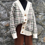 Sweater autumn plaid knitted jacket Korean cardigan new women's long section loose lazy