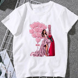 Summer Women T-shirt 2020 Fashion beauty champagne pattern Printing Tshirt Harajuku Leisure Streetwear Female Clothing Tshirt