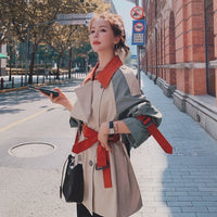 2020 Chic Women's Color Matching Windbreaker Spring Fall Korean Loose Long Overcoat Plus Size British Trench Coat With Belt 2188