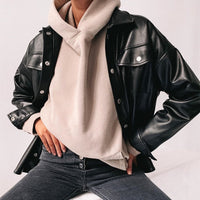 JIEZuoFang Punk Style Women Autumn Leather Jacket Turn-down Collar Streetwear Cool Jackets Ladies Pocket Oversized Pop Jackets