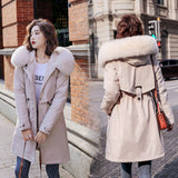 Women Winter Thick Jacket Wool Liner Parkas Warm Mid-Long Jackets Hooded Parka Fur Inside Cotton Coat Female Plus size 6XL DH33