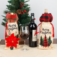 Wine Bottle Cover Burlap Plaid Bag Home Holiday Christmas Decoration Red Wine