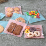100pcs Self-adhesive Bag Cookie Biscuit Storage Bag Sweets Packing Plastic Gift Pouch