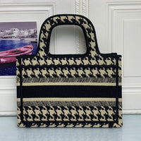 Free Shipping Luxury Brand Jacquard Clutch Mini Oblique Print Ladies Bag Embroidered Canvas BOOK TOTE Houndstooth High Quality