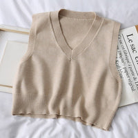 Autumn Sleeveless Sweater Women Sweet Solid Color V Neck Knitted Loose Sleeveless Slim Vest Jumpers Pull Femme