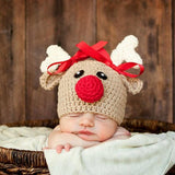 Christmas Newborn Infant Baby Boy Girl Hats Cartoon Crochet Knitted Bowknot Christmas Deer Baby Cap Photography Props 0-4M