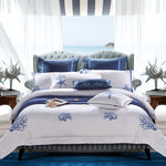 Chic Embroidery on White Duvet Cover set Egyptian Cotton Soft Bedding Set Hotel Bed set Duvet Cover Set King Queen Size 4/6/9Pcs