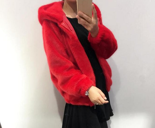 Rabbit imitation fur winter grass mink faux fur coat ladies artificial fur hooded soft plus size 2021 women's jacket red,4XL,5xl