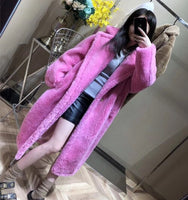 100% Alpaca Real Fur Coat Women Winter Suit Collar Long Nature Teddy Bear Fur Coats Overcoat Female Genuine Furs Jacket