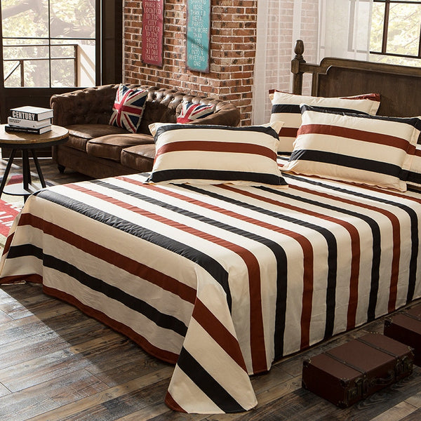 1 Piece 100% Cotton Striped Printing Flat Sheet For Children Adults Single Double Bed Flat Bedsheets (No Pillowcase) XF631-12