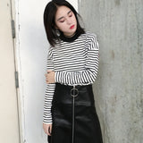 2020 Autumn Women T Shirt Fashion Clothing Lady O Neck T-Shirt Causal Black White Strip Long Sleeve Top For Female