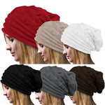 25# Women Winter Hat Knitted Wool Cap Beanies Unisex Casual Pure Black Color Hip-hop Skullies Beanie Warm Men Hat Christmas Gift