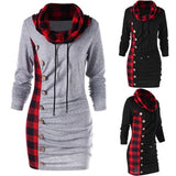 Women Winter Long Sleeve Turtle Neck Jumper Hoodies Sweatshirt Plaid Autumn Casual Top Outwear
