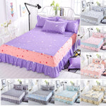 1 PC Fashion Printing Bed Sheet Ployester Single Double Bed Skirt Mattress Cover Petticoat Twin Full Queen Bed Skirts Bedspread