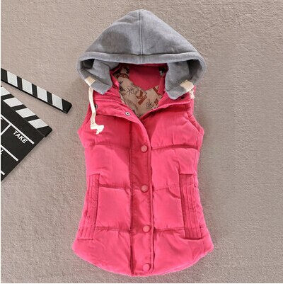 Plus Size 6XL Women Vest Winter Coat Ladies Gilet Colete Feminino Casual Pocket Hooded Waistcoat Female Sleeveless Jacket
