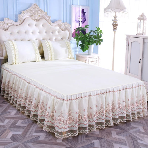 Romantic Bloom Pattern Solid Color Bed Skirt Non-slip Dust Ruffle Queen Size Bedspread Bed Skirt #/L