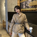 Hzirip 2020 New Design Women Winter Solid Sashes Coat Female Thick High Quality Students Outwear Sweet Women Jacket Plus Size