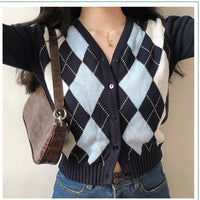 Vintage Geometric Argyle Sweater Cardigan Women Autumn Knit Long Sleeve V Neck Outerwear 2020 Elegant Knitted Ladies Sweaters