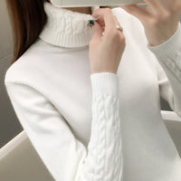 Women Sweater Turtleneck Pullovers Autumn Winter Sweaters New 2020 long sleeve Thick Warm Female Sweater Khaki