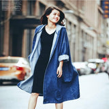 2020 spring and fall new European and American casual loose-fitting knee-length coat hooded cowboy trench coat female