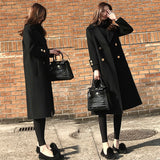 Women Winter Korean Style Black Long Wool Blend Trench Coat 2020 Ladies Fashion Windbreaker Clothes 2XL