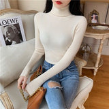 Women's Sweaters Autumn Winter Turtleneck Long Sleeve Casual Knitted Jumper Fashion Slim Elasticity Pullover Sweater Female 2020