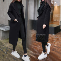 Women's Winter Black Long Wool Coat Outerwear 2020 Ladies Trench Korean Cashmere Female Loose Warm Clothes Windbreaker Jackets