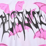 Pink Bat Graphic Tees Women Punk Shirt Gothic Oversized T Shirt Streetwear Summer Goth Clothes Oversize Tshirt 2020 Fashion Top