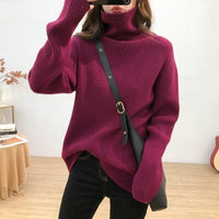 Autumn Winter Turtleneck Sweater Women Knitted Ribbed Pullover Sweater Long Sleeve Slim Jumper Pull Femme Stretchable