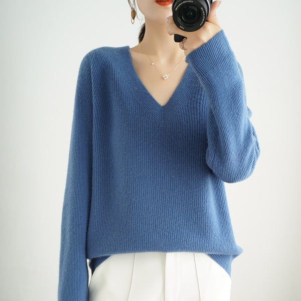 High-End Autumn Winter 100% Cashmere Sweater V- Neck Women's Female Loose Large Size Knitted Girl Clothes Tops Standard Outwear