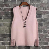 V-neck Sweater Vest Women Casual Loose Fringed Student Knitted Halter Korean Version of The Wild 2020 Spring Jumper Girl