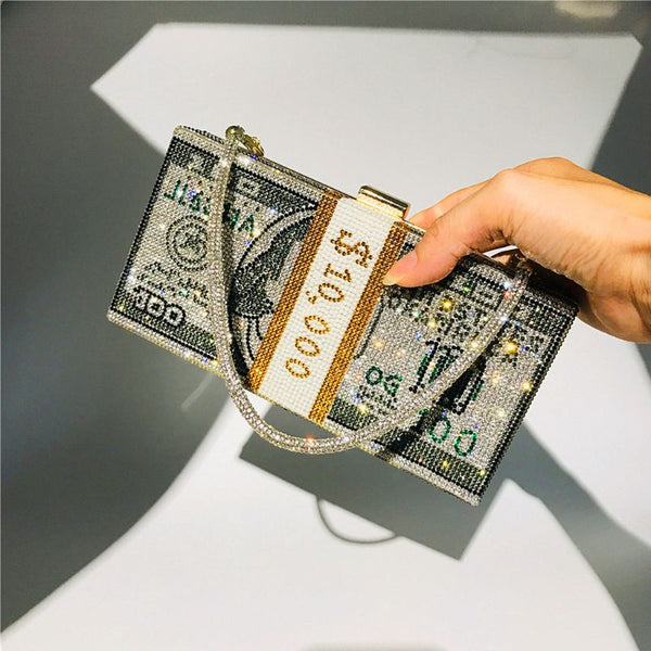 Money Clutch Rhinestone Purse 10000 Dollars Stack of Cash Evening Handbags Shoulder Wedding Dinner Bag 8 Color