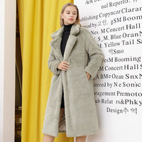 2020 New Women Winter Warm Faux Fur Coat Thick Women Long Coat Turn Down Collar Women Warm Coat Casaco Feminino