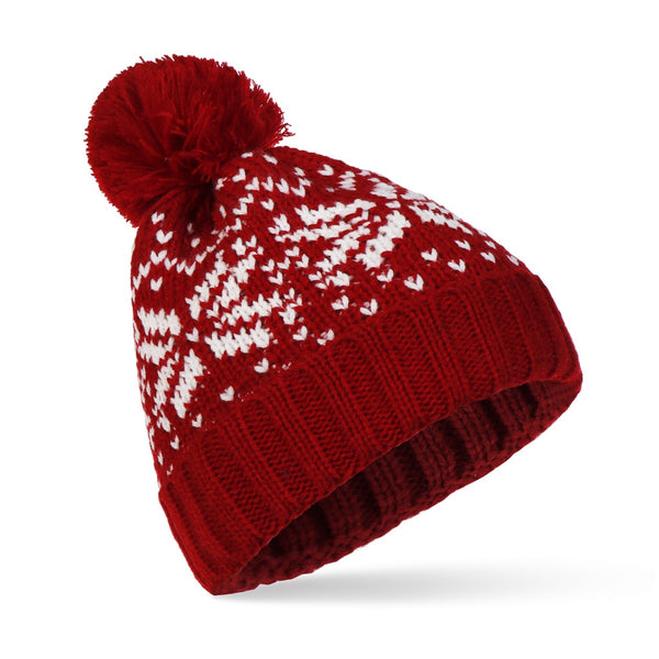2020 New Snowflake Pompom Beanie Hat Christmas Gift Korean Fashion Winter Warm Knitting Thick Hat for Women and Men