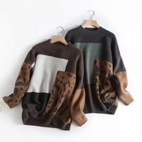 2020 Women Sweater And Pullovers O-Neck Long Sleeve Vintage Knitted Leopard Women Sweater Autumn Pullovers Tricot Pull Femme