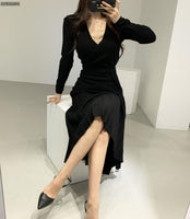 Stretchy Women Knitted Bodycon Pencil Dress Autumn Winter Solid Vestidos Long Sleeve V Neck Slim Lady Chic Korean Dress