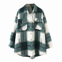 Plaid women oversize woolen shirts 2020 fashion ladies soft thick shirt party female elegant loose tops vintage girls chic shirt