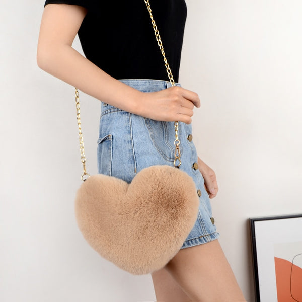 Crossbody Bags for Women Rex Rabbit Fur Love Bag Peach Heart Bag Chain Bag Fashion Shoulder Cross-chain Female Bag