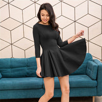 MOARCHO Woman Sexy O-Neck Fit A-Line Dresses Lady Paty Club Three Quarter Sleevess Basic Mini Dresses 2020 New Fashion