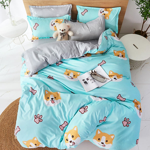 Cartoon Shiba Inu Bedding Set Boys Bedclothes Teens Soft Comfortable Bed Linens Set Twin Duvet Cover Set for Home Textile