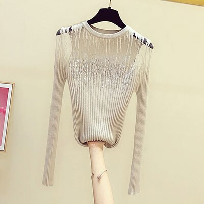 LJSXLS Diamonds Thin Knitted Sweater Female Hollow Out Sweaters Women 2020 Autumn Sexy Tops Bright Wire Pullover Woman Clothes