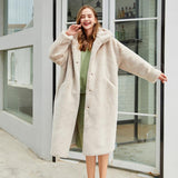 Plush Coat Faux Fur Artificial Wool Imitation Velvet Long Warm High Quatity Overcoat Lady Furry Fur Coat With Hood Winter Women