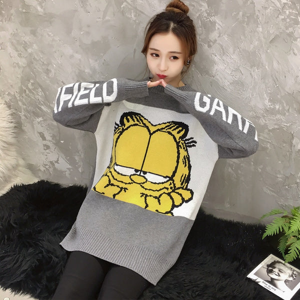 New Korean Women Sweater Cartoon Cute Loose Pullover Autumn Winter Fashion Girl Clothes Tops Female Knit Sweater 2019