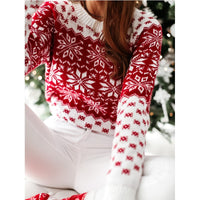 Christmas Sweater Women Christmas Deer Warm Knitted Long Sleeve Sweater Jumper Top Winter Autumn Pullovers Plus Size
