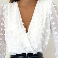 Women Deep V Neck Top White Jacquard Fashion Shirt Female Long Sleeve Chic Shirt Sexy Polka Dot Solid Color Mesh Blouses D30