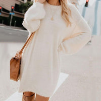 Chic Women Dress Autumn Solid Color O Neck Sweater Fluffy Loose Knee-length Dress Soft Thin Loose Sweater Dress For Women Party