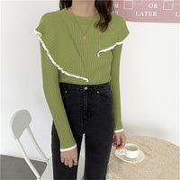 HziriP OL Basic Bottoming Knit Sweater 2020 New Korean Style Flounced Stitching Pullover Sweaters Slim Warm Thick Knitted Tops