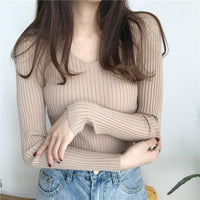 BEFORW Autumn Sweater Women Casual Slim V-Neck Bottoming Sweaters Solid Color Winter Basic Tops Wild Long Sleeve Pullover Top
