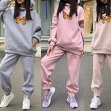 Butterfly Print Women's Suit Fleece Tracksuit Oversized Hoodie Pants Set Tracksuits 2021 Spring Autumn Female Sportwear Suits