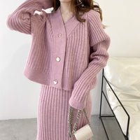 Knitted Sweater And Dress Two Piece Set Women Autumn Loose Crop Tops Women Sweater Maxi Dress 2 Piece Sets Women's Outfits